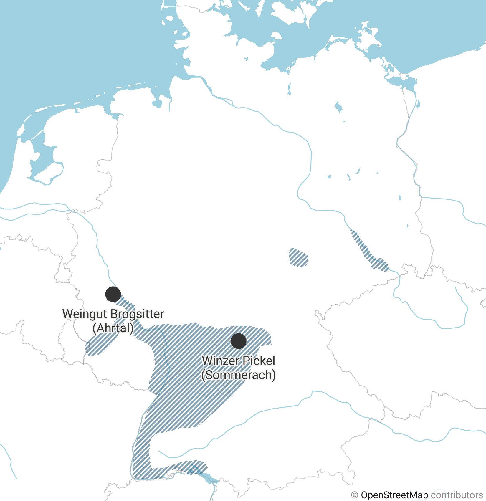 Eine Karte zeigt, in welchen Regionen Deutschlands Wein angebaut wird.
