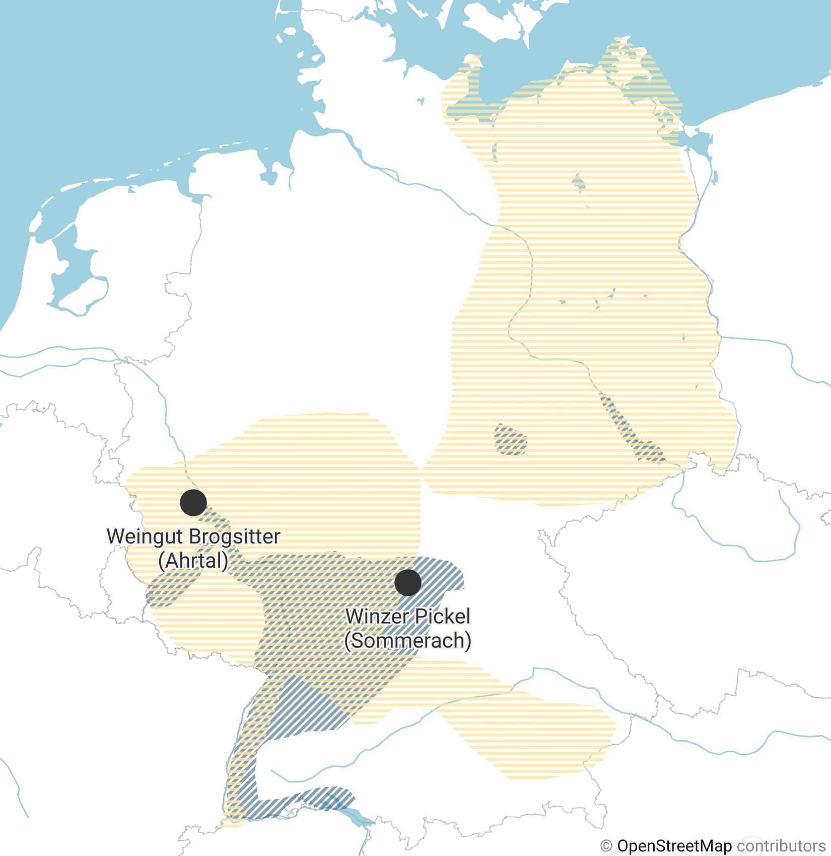 Eine Karte zeigt, in welchen Regionen Deutschlands sich Weinanbaugebiete und trockene Gebiete überschneiden.